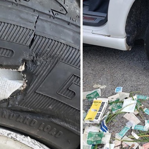 Deputies posted this image of scene after a man tried to patch a tire with gauze and Band-Aids in Mission Viejo on Aug. 20, 2019. (Credit: OCSD - Mission Viejo Police Services on Facebook)
