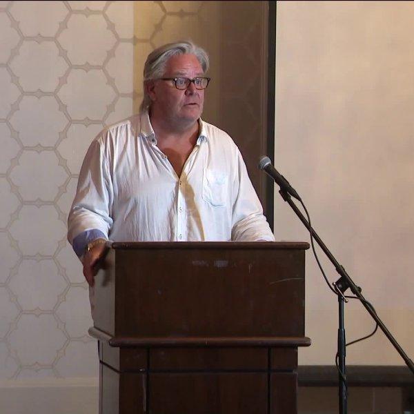 David E. Stanley, the stepbrother of Elvis Presley, speaks during OverTaken Lives' International Overdose Awareness Day event in Laguna Hills on Aug. 16, 2019. (Credit: KTLA)