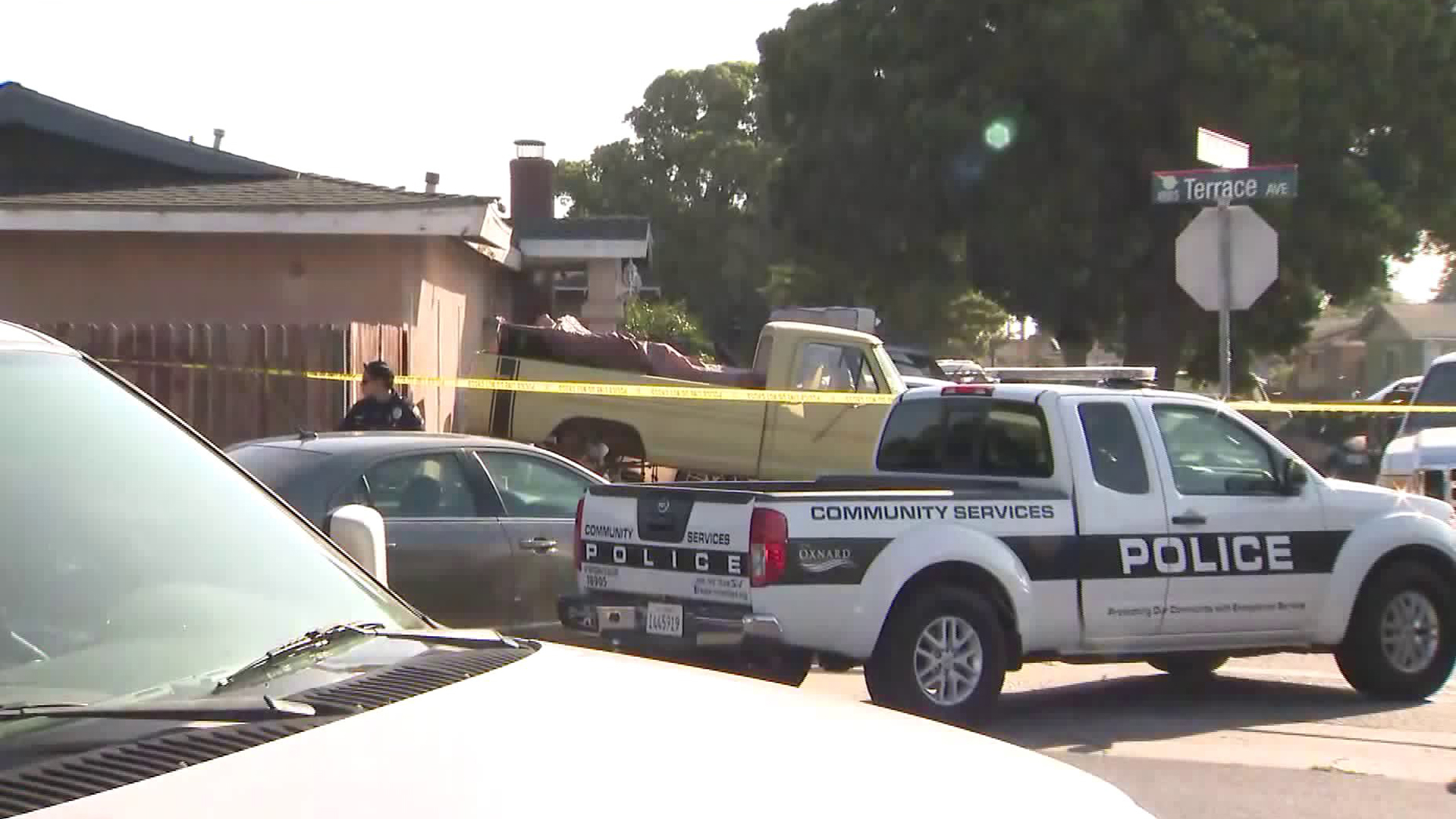 An Oxnard police vehicle is seen at the scene of a deadly shooting in the 1000 block of Berkshire Street on Aug. 31, 2019. (Credit: KTLA)