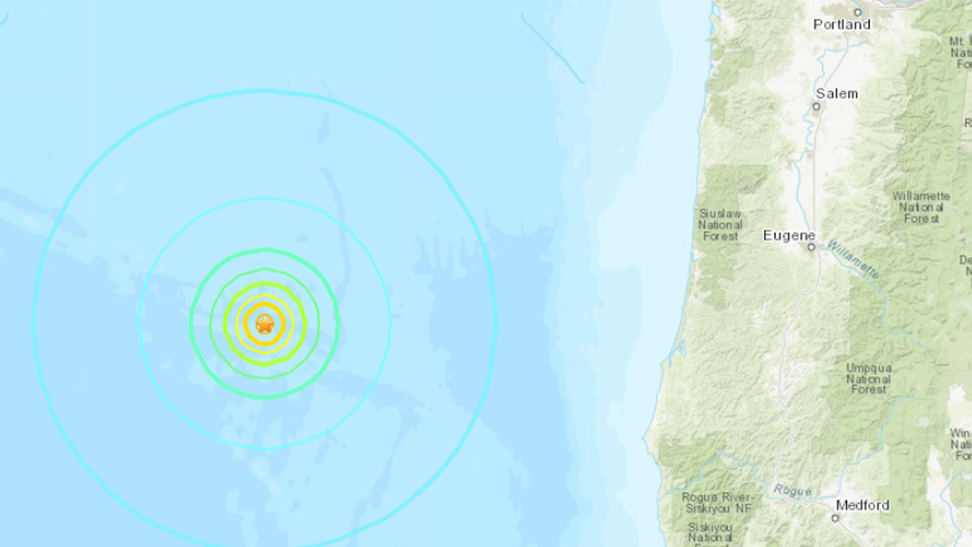 A 6.3 earthquake struck off the Oregon coastline on Aug. 29, 2019. (Credit: USGS)
