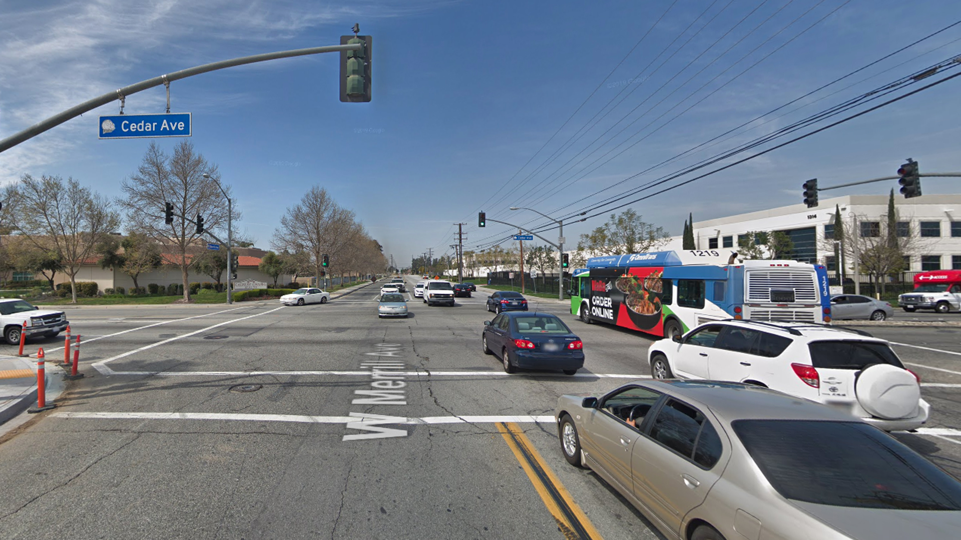 The intersection of Merrill and Cedar avenues in Rialto is seen in a Google Maps Street View image.