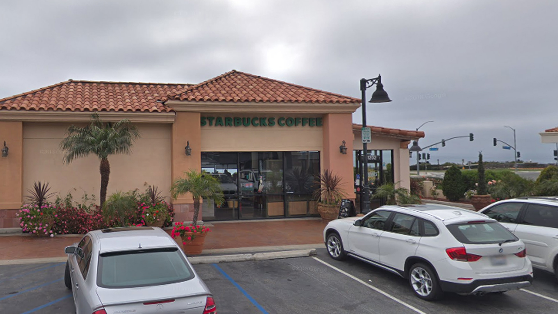 The Starbucks in Rancho Palos Verdes' Golden Cove Shopping Center is seen in a Google Maps Street View image.