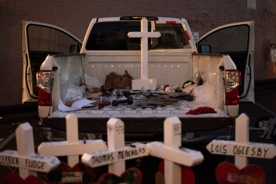Though the victims in Dayton are memorialized with crosses, Greg Zanis is conscious of religion and strives to honor victims appropriately. Gerald Fischman, slain in the 2018 Capital Gazette newsroom shooting, stands out. Zanis wept recalling how Fischman, who was Jewish, wrote the paper's Christmas editorial and volunteered to work on Christmas so others could take off. (Credit: Mark Felix / CNN)