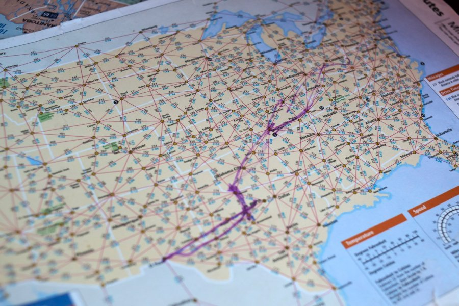 A map in Greg Zanis' truck shows the 1,600-mile route he sketched out from El Paso to Dayton. It's the first time he's had to make crosses for back-to-back mass shootings — 20 for El Paso and nine for Dayton. After Zanis left El Paso, the death toll climbed to 22. (Credit: Mark Felix / CNN)