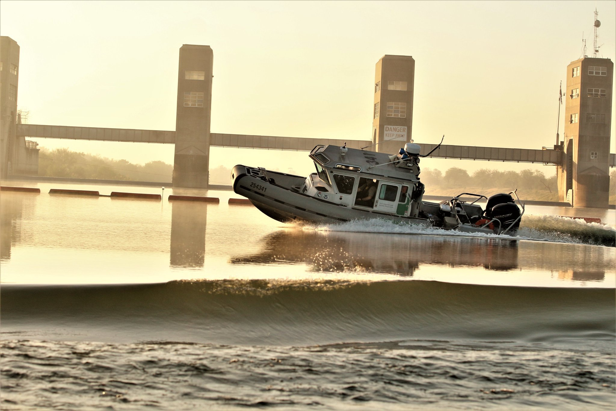U.S. Customs and Border Protection officials in the Rio Grande Valley tweeted this photo of a Border Patrol boat that was fired upon on Aug. 9, 2019.