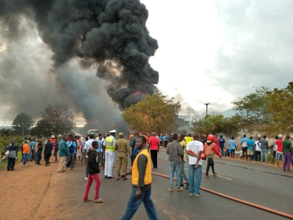 An oil tanker explosion is seen in Tanzania on Aug. 10, 2019. (Credit: Hussein Michuzi/ CNN)