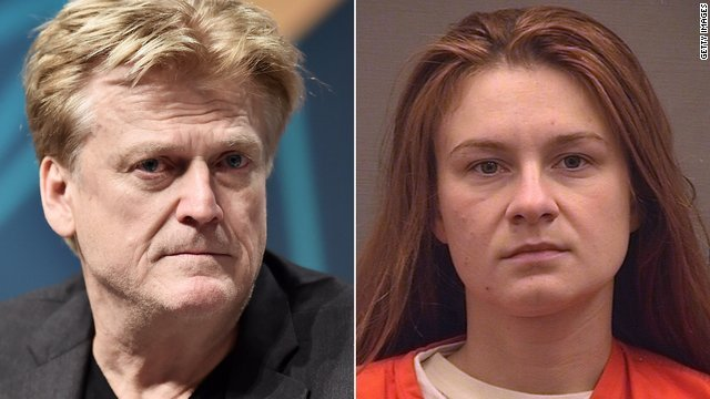 Former Overstock CEO Patrick Byrne and Maria Butina are seen in undated photos. (Credit: Getty Images, Alexandria Sheriff Office via CNN)