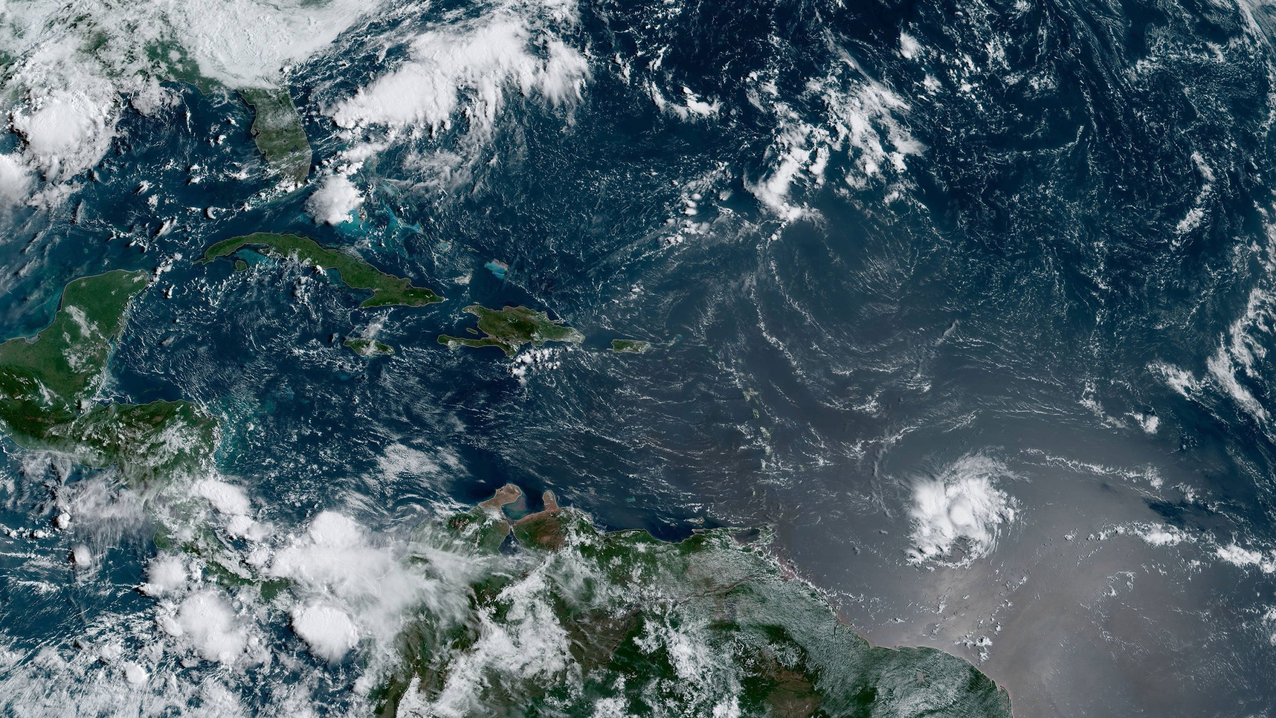 Tropical Storm Dorian is expected to strengthen into a hurricane by Wednesday morning and bring wind, rain and storm surges to the Lesser Antilles and Puerto Rico over the coming week. (Credit: NOAA)
