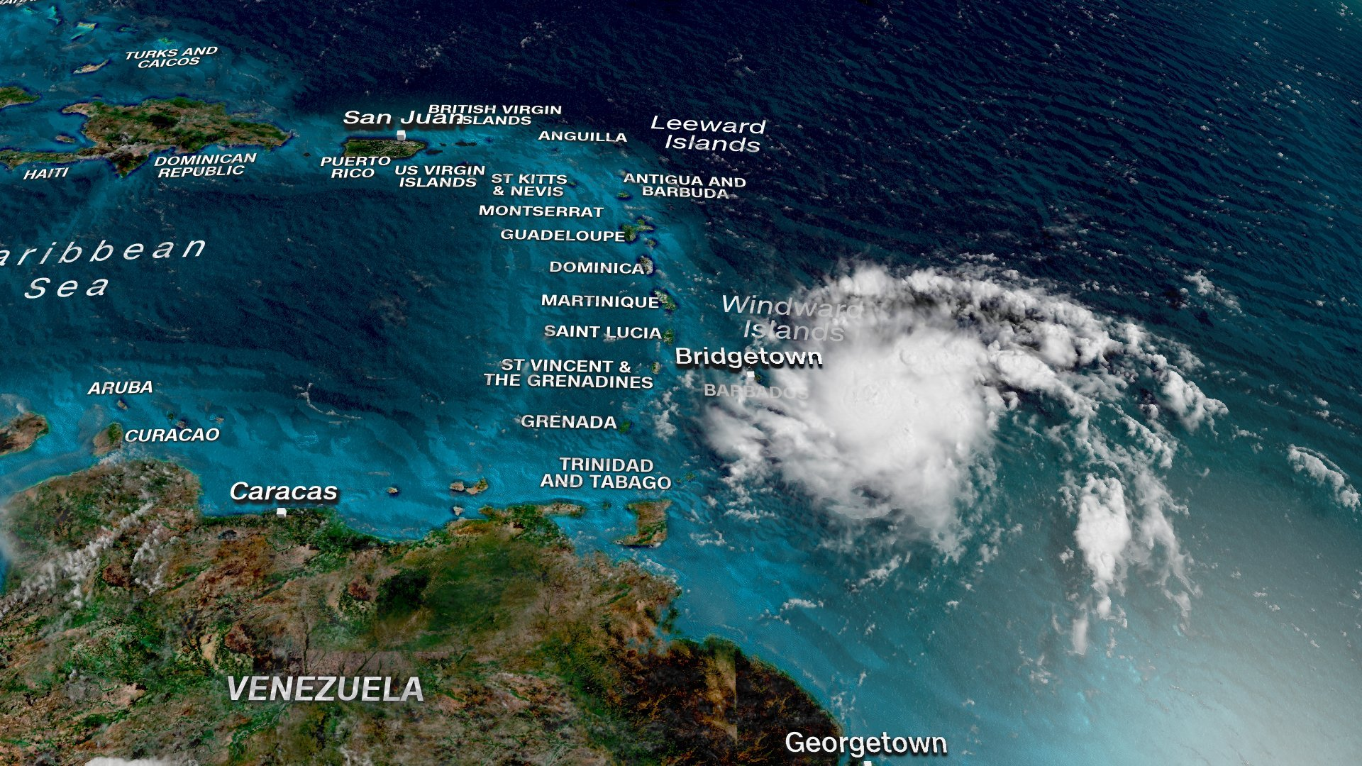 The National Hurricane Center issued a tropical storm warning and a hurricane watch for Puerto Rico on Tuesday morning as Tropical Storm Dorian continues to move across the Caribbean toward the island. (Credit: CNN)