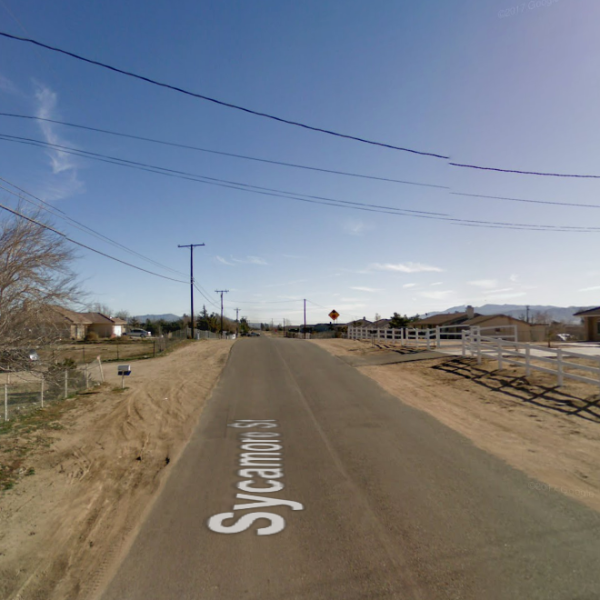 The 15000 block of Sycamore Street in Hesperia is seen in a Google Maps Street View image.