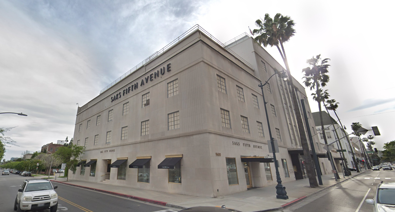 Saks Fifth Avenue in Beverly Hills is seen in this image from Google Maps.