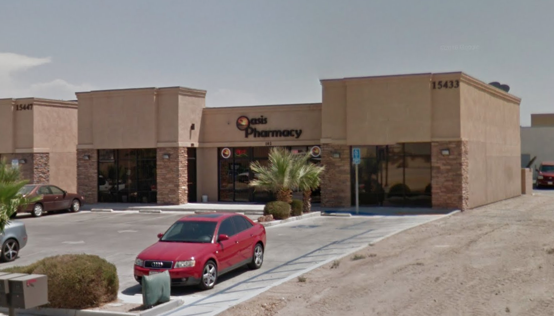Oasis Pharmacy in Victorville is seen in this image from Google Maps.