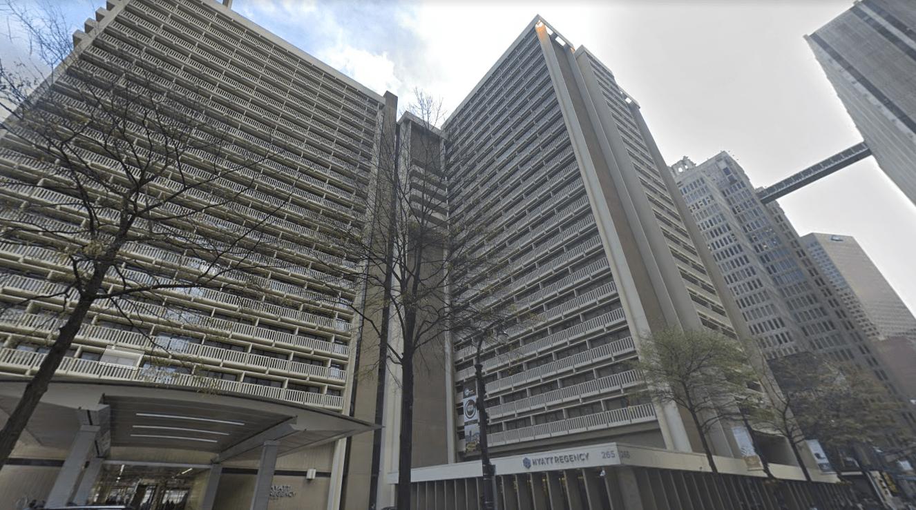 The Hyatt Regency Atlanta is seen in this image from Google Maps.