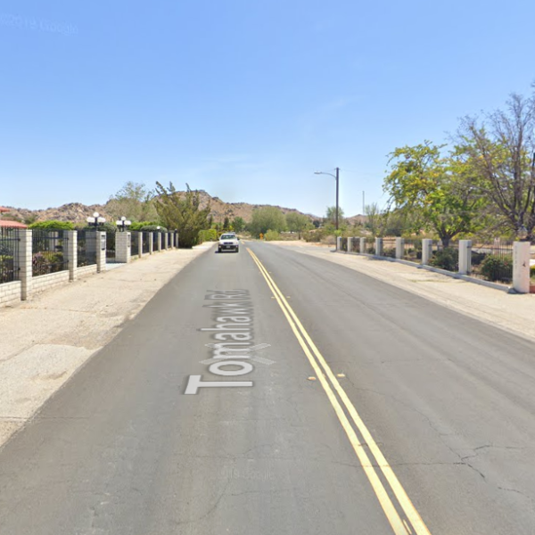 The 19800 block of Tomahawk Road in Apple Valley is shown in a Street View image from Google Maps.