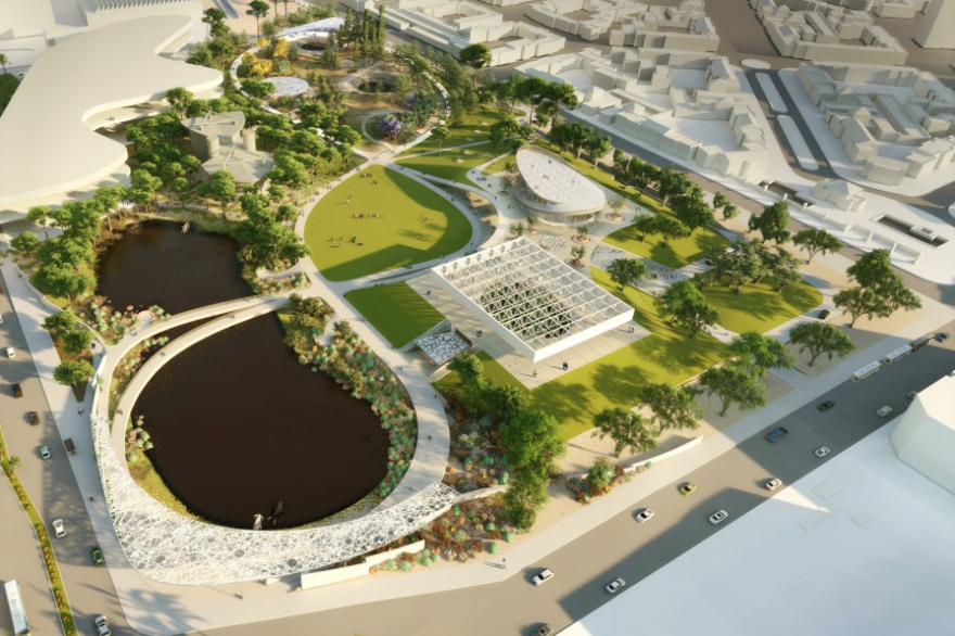 The La Brea Tar Pits released this rendering from Weiss/Manfredi on Aug. 26, 2019.