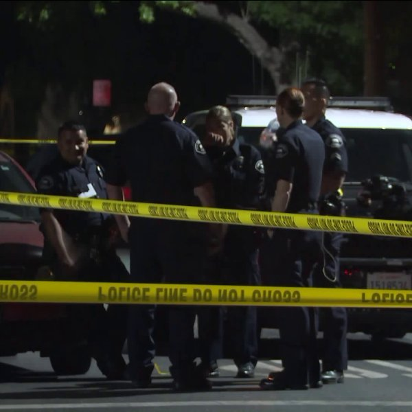 Authorities investigate a shooting in San Fernando on Aug. 15, 2019. (Credit: RMG News)