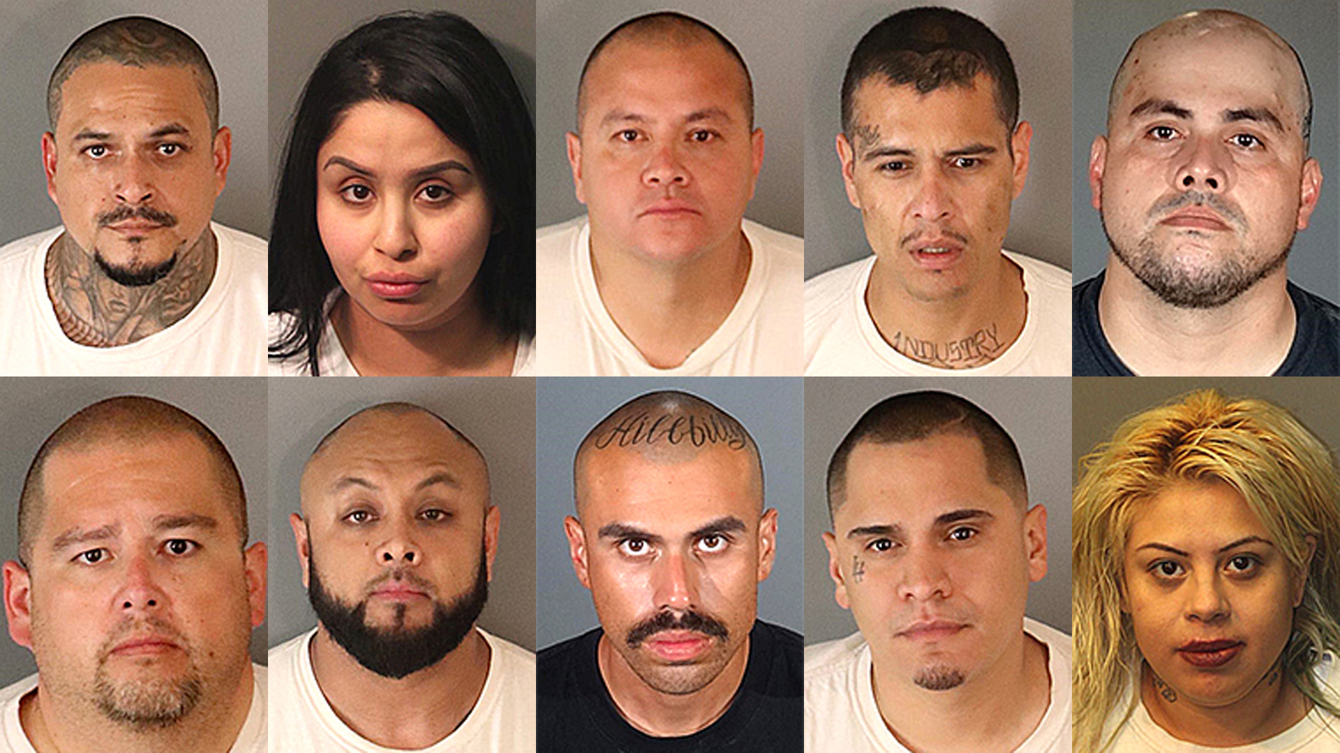 From left to right, top row then bottom row: Rolando Aguilar, 40, of Compton; Brandy Aleman, 29, of Grand Terrace; Thomas Barragan, 47, of Rialto; Kevin Curiel, 30, of La Puente; Jose Delgado, 35, of West Covina; Daniel Lopez, 43, multiple hometowns; Jose Juan Marrero Colon, 37, of Grand Terrace; Diego Martinez Hispanic, 21, of La Puente; Sean Serrano, 30, of Upland; Elvira Vargas, 27, of West Covina. (Credit: Riverside County Sheriff's Department)