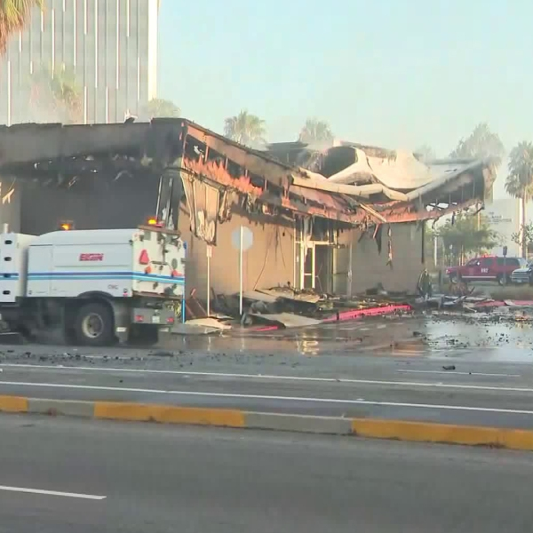 A Chase bank is seen on Aug. 24, 2019 in the aftermath of a fire ignited by a car crash. (Credit: KTLA)
