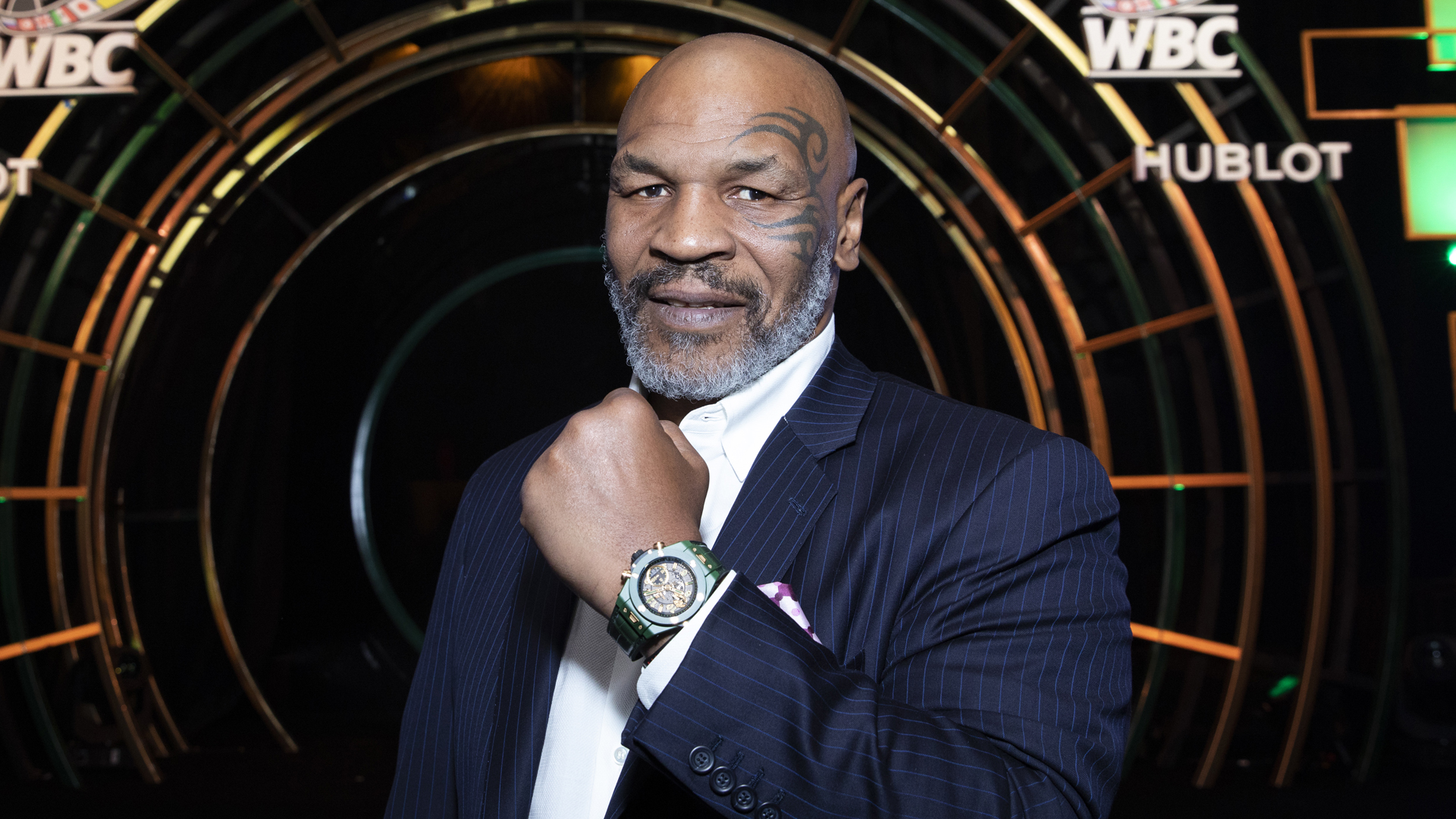 "In this handout image provided by Hublot Mike Tyson attends the Hublot x WBC ""Night of Champions"" Gala at the Encore Hotel on May 03, 2019 in Las Vegas, Nevada. (Omar Vega/HUBLOT via Getty Images)"