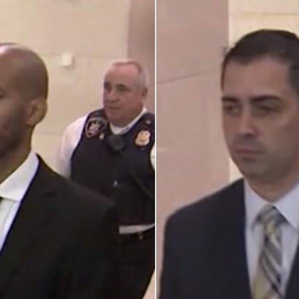 Former NYPD detectives Eddie Martins and Richard Hall admitted to bribe taking and having sex with an 18-year-old woman. (Credit: WCBS via CNN)