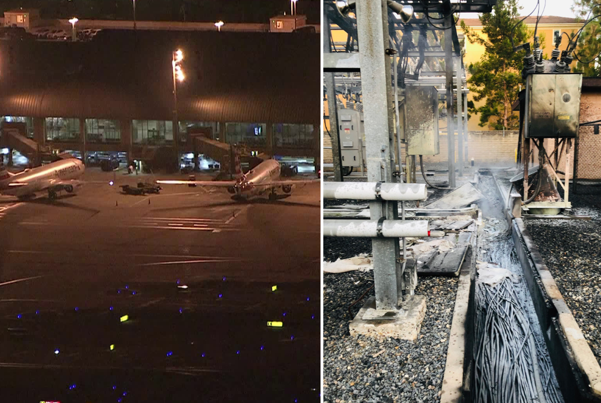 John Wayne Airport is seen on August 2, 2019. (Credit: KTLA) The aftermath of an electrical vault fire in Irvine is seen on the same day. (Credit: Orange County Fire Authority)