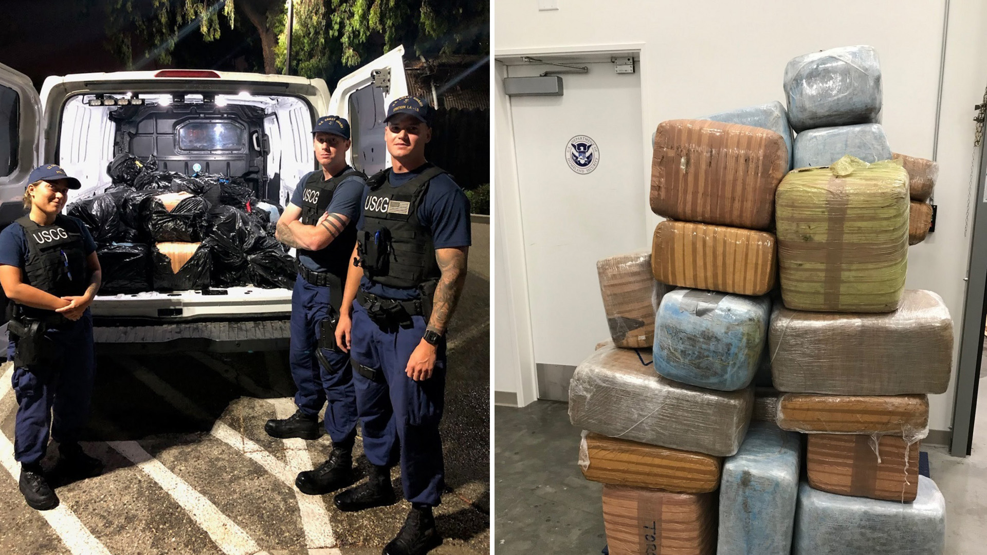 Officers from the U.S. Coast Guard's Los Angeles-Long Beach station stand near a van filled with about 1,300 pounds of marijuana seized near Catalina Island on Aug. 13, 2019. (Credit: U.S. Coast Guard)