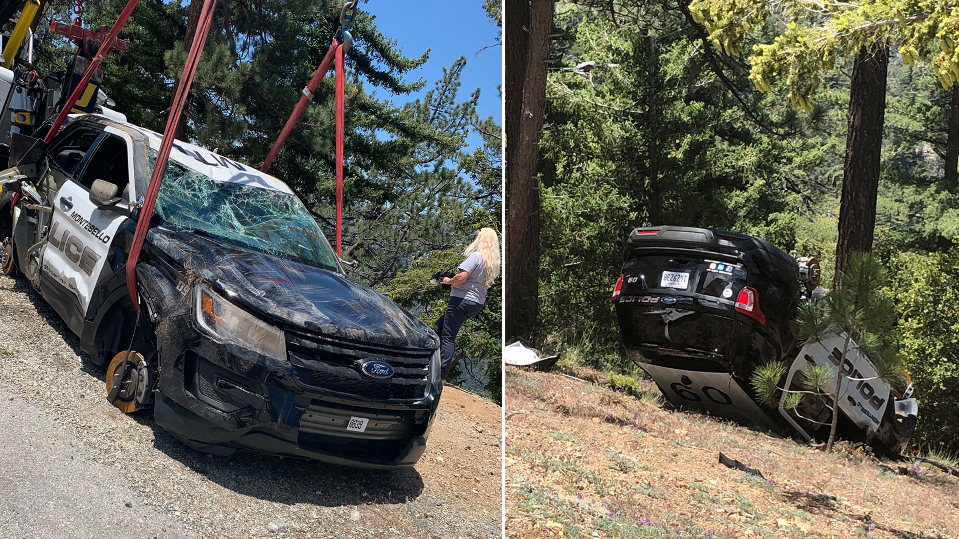 A stolen Montebello police car is pulled from the side of an embankment on June 18, 2019. (Credit: Montebello Police Department)