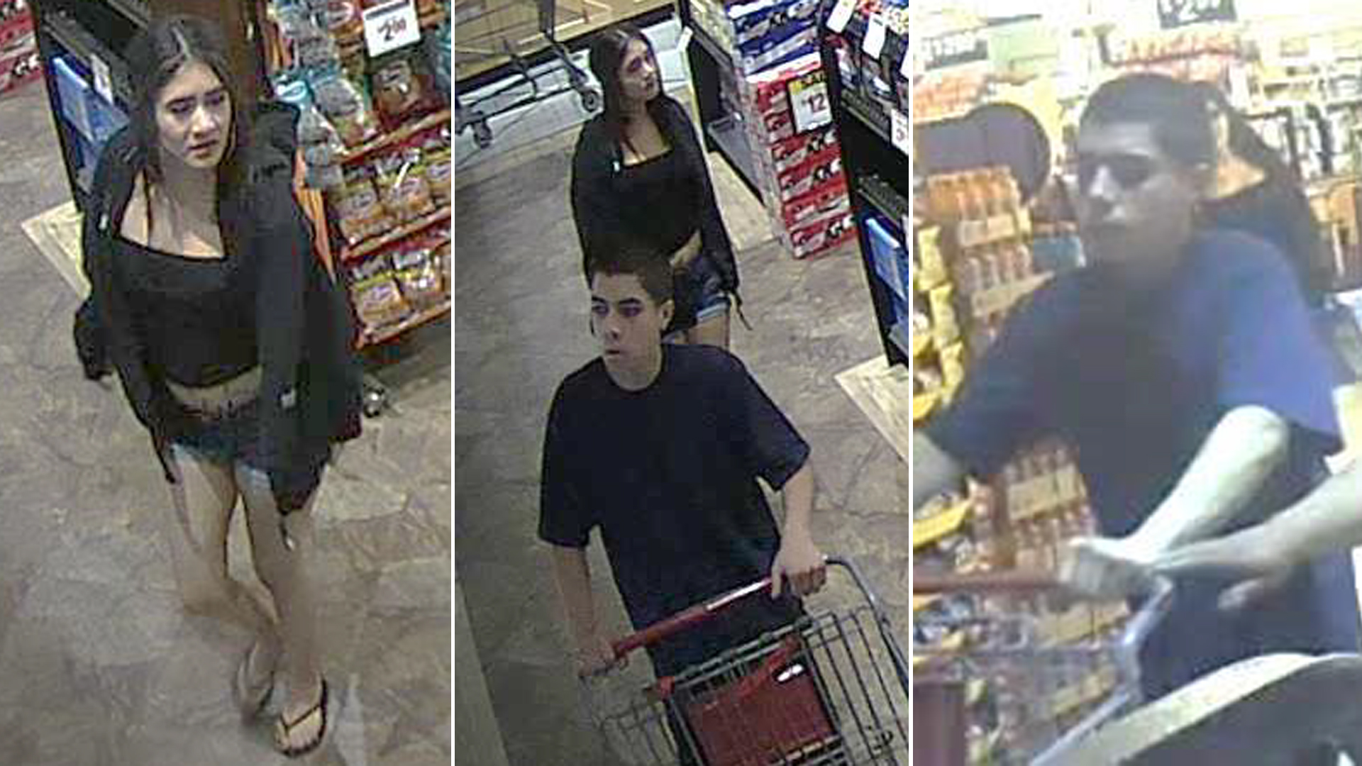A woman and man sought in connection with a beer robbery at a Victorville grocery store are seen in surveillance images released Aug. 1, 2019, by the San Bernardino County Sheriff's Department.