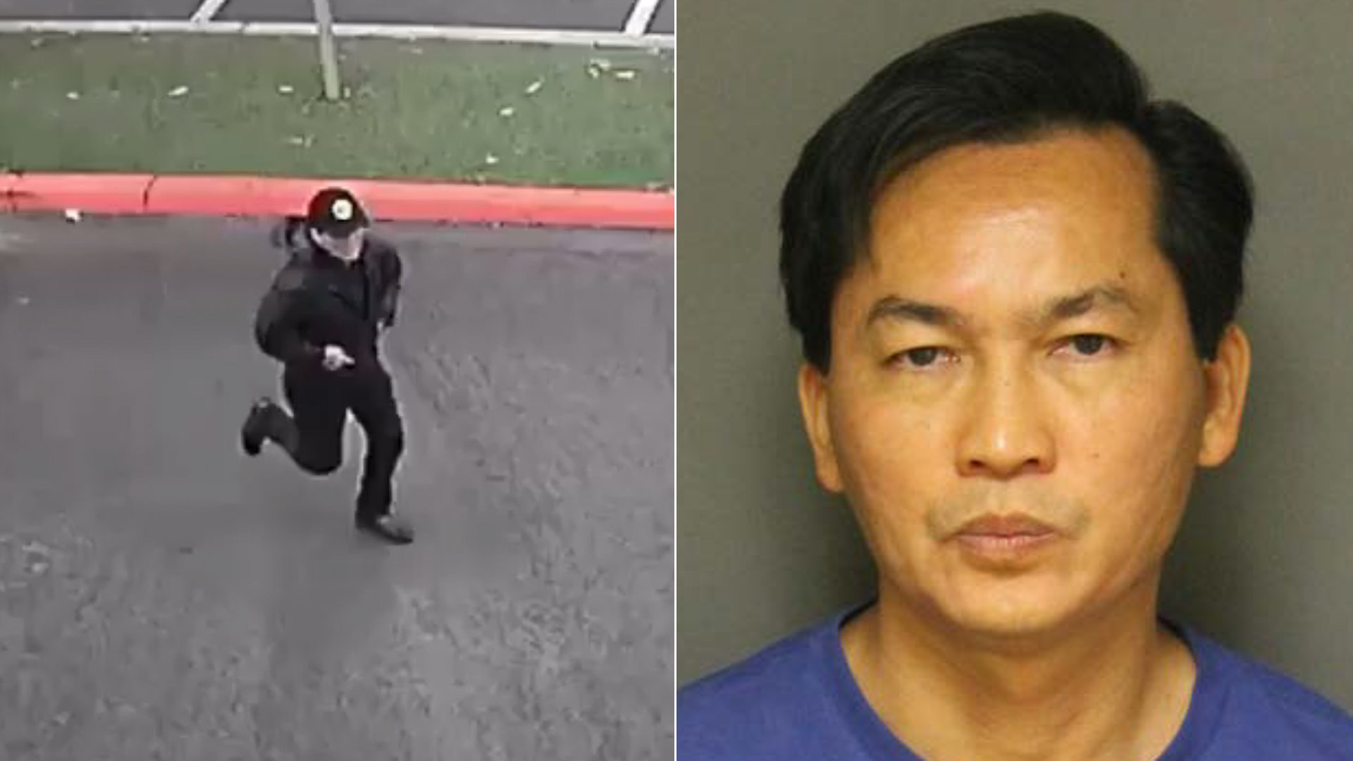 Chuyen Vo, left, is seen in a booking photo released Aug. 22, 2019, by the Fullerton Police Department. Detectives believe he's the man seen in a surveillance image at right fleeing the scene of a killing at Cal State Fullerton on Aug. 19, 2019.