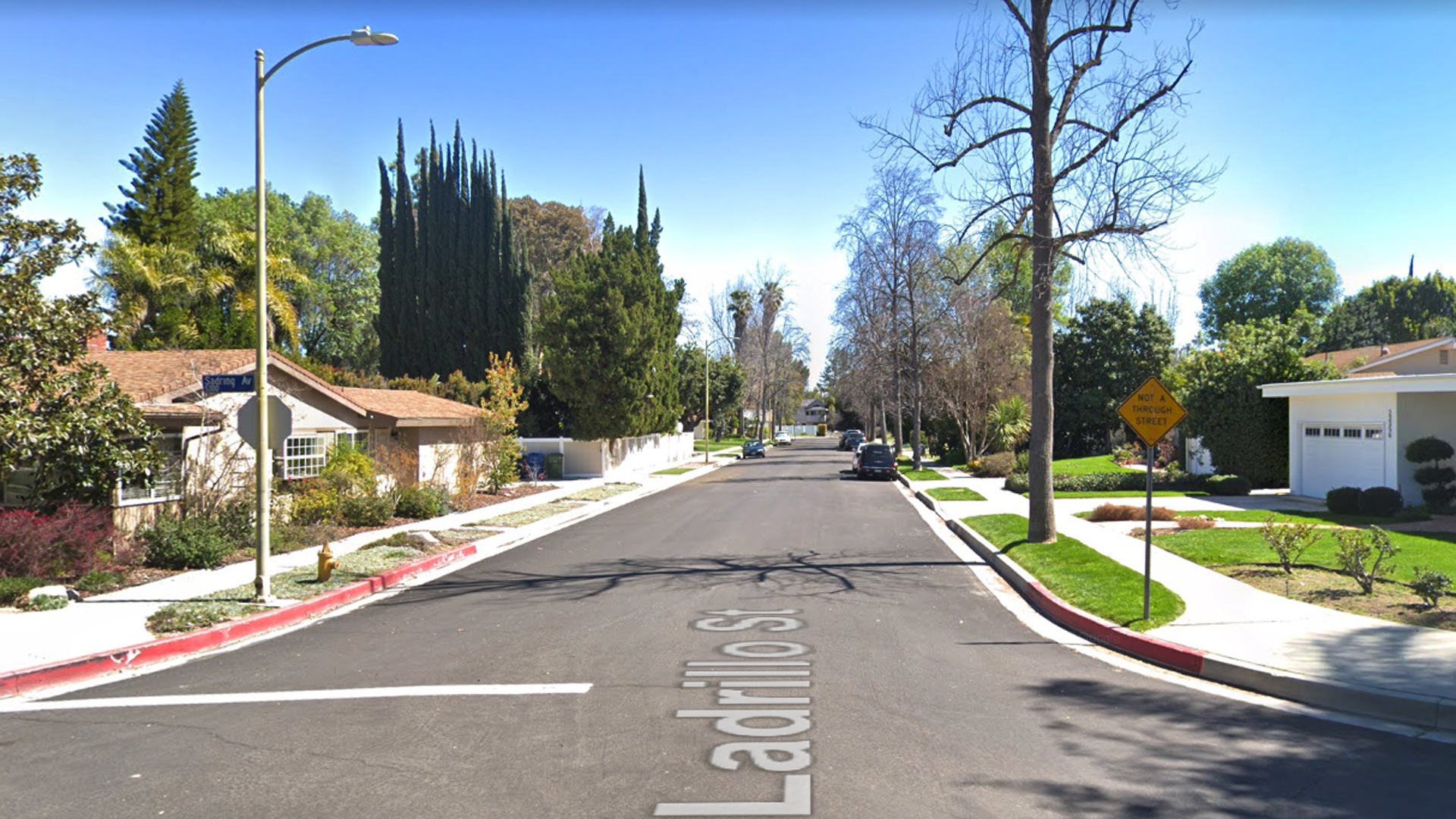 The 23300 block of Ladrillo Street in Woodland Hills, as viewed in a Google Street View image.