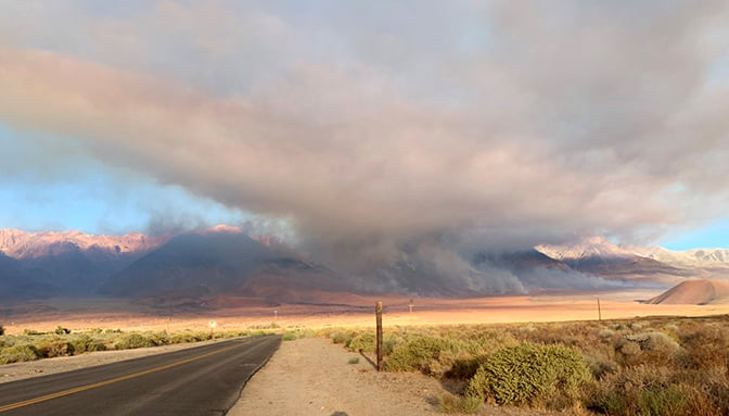 The Taboose Fire burning in Inyo National Forest is seen in an image released Sept. 8, 2019, by the U.S. Forest Service.