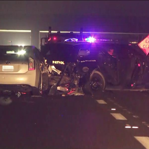 A crash involving a California Highway Patrol vehicle is seen on the 405 Freeway in Fountain Valley on Sep. 27, 2019. (Credit: KTLA)