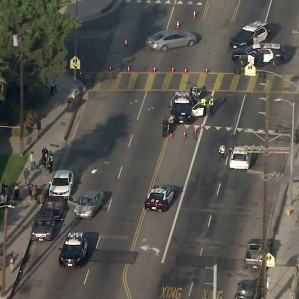 Police were investigating a crash that left a crossing guard and a female pedestrian injured in Valley Glen on Sept. 16, 2019. (Credit: KTLA)