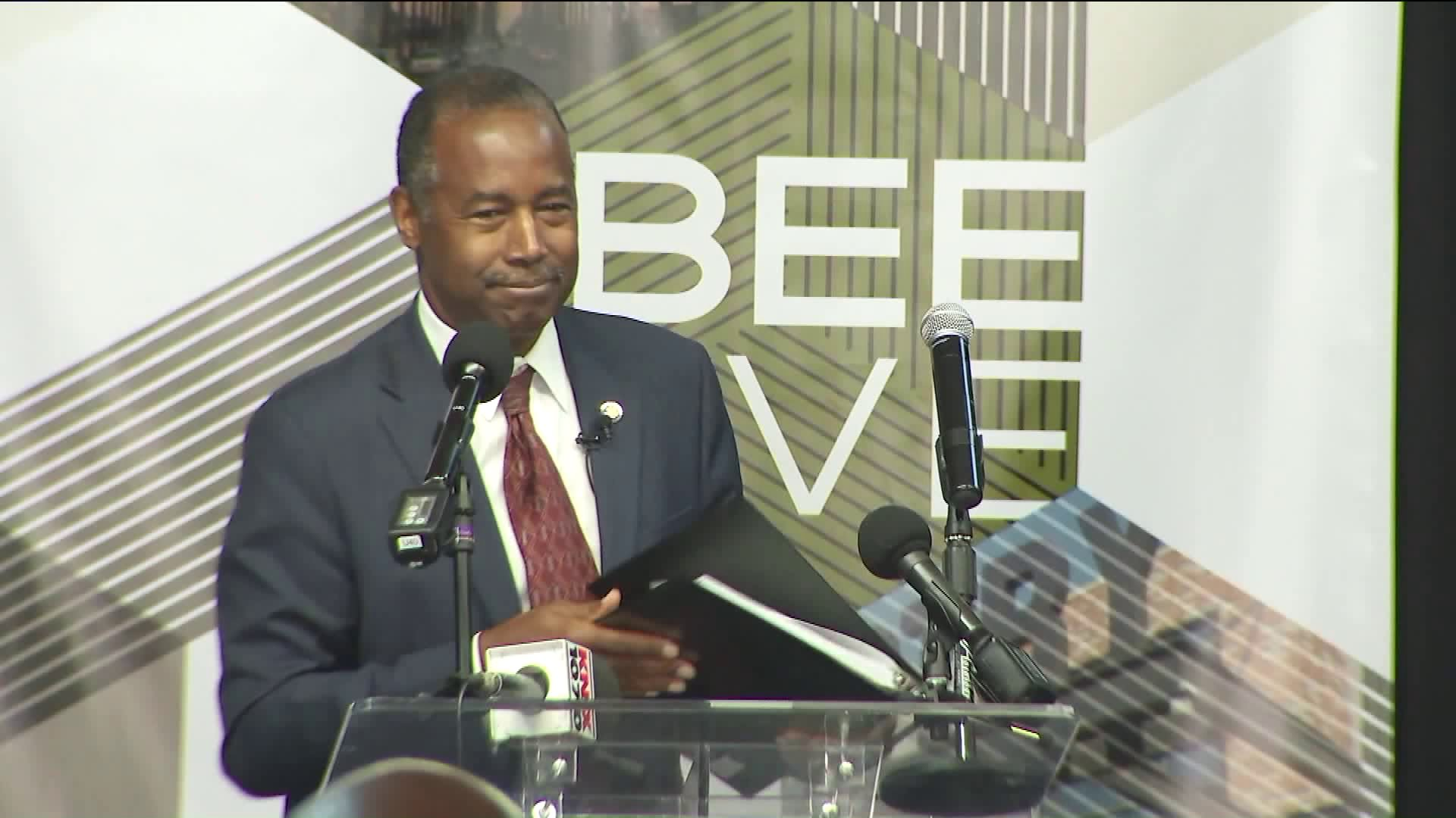 Ben Carson was in South Los Angeles for a housing forum on Sept. 18, 2019. (Credit: KTLA)