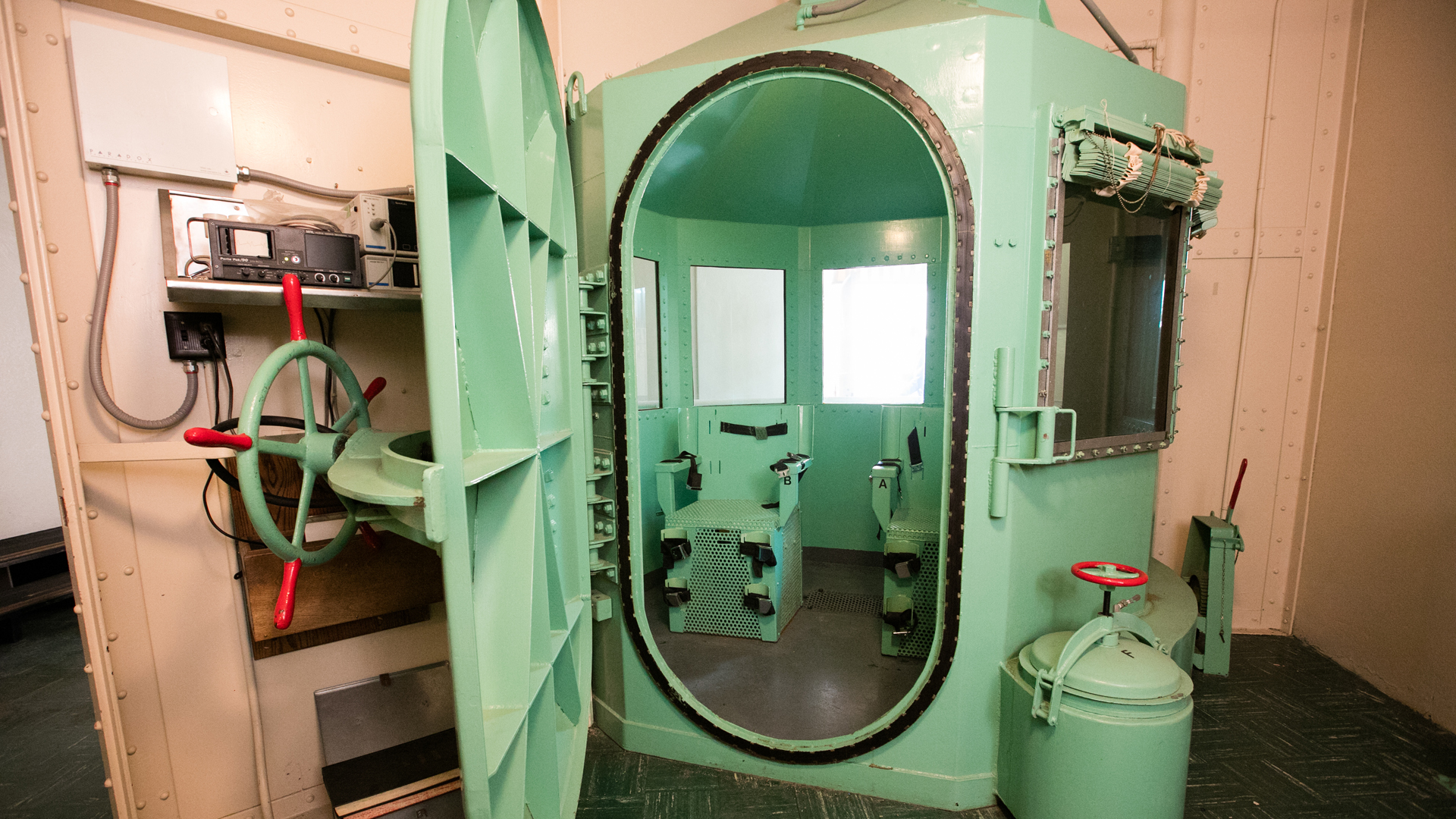 In this handout photo provided by California Department of Corrections and Rehabilitation, San Quentin's death row gas chamber is shown before being dismantled at San Quentin State Prison on March 13, 2019 in San Quentin, California. (Credit: California Department of Corrections and Rehabilitation via Getty Images)