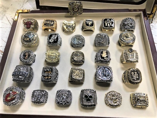 Fake NBA championship rings seized by federal agents are seen in this photo released by the U.S. Customs and Border Protection on Sept. 11, 2019.