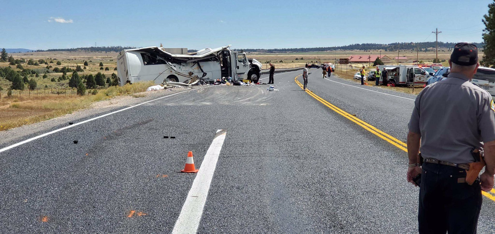 A tour bus crash is shown outside Bryce Canyon National Park on Sept. 20, 2019, in a photo tweeted by the Utah Highway Patrol.