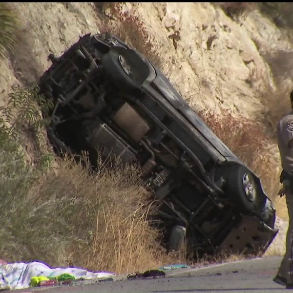 A crash is seen on Big Tujunga Canyon Road near Sunland on Sept. 29, 2019. (Credit: KTLA)
