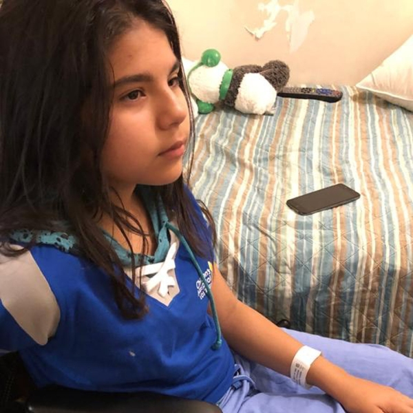 Natalia Rodriguez speaks about a hit-and-run crash that left her with a broken leg on Sept. 6, 2019 in this photo released by LAPD.