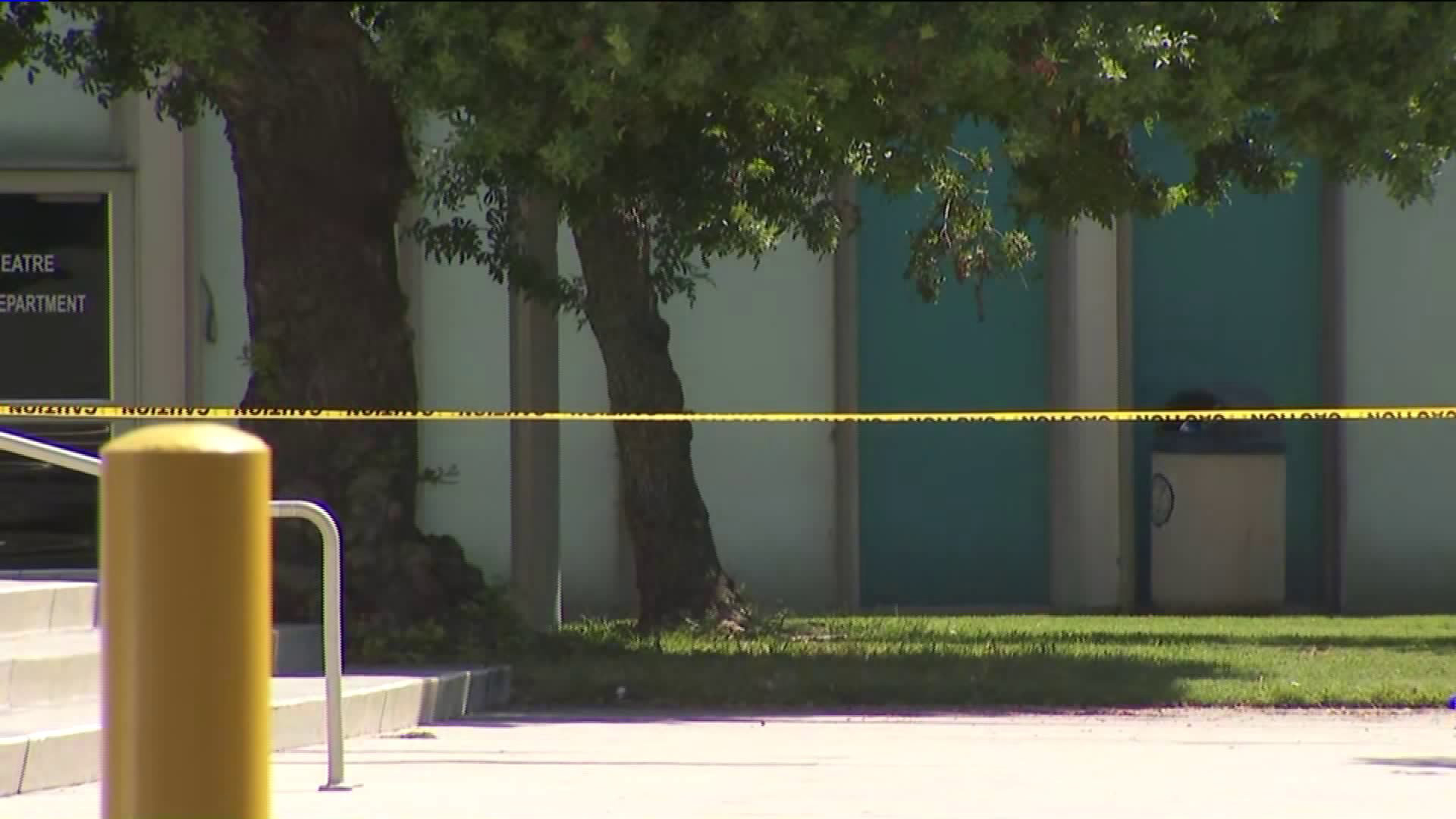 Crime scene tape blocked off a building at Cerritos College on Sept. 3, 2019. (Credit: KTLA)
