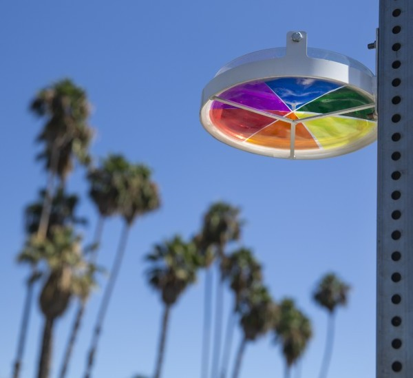 The Rainbow Halo art installation honors people who were killed in traffic collisions. (Credit: Mel Melcon/Los Angeles Times)