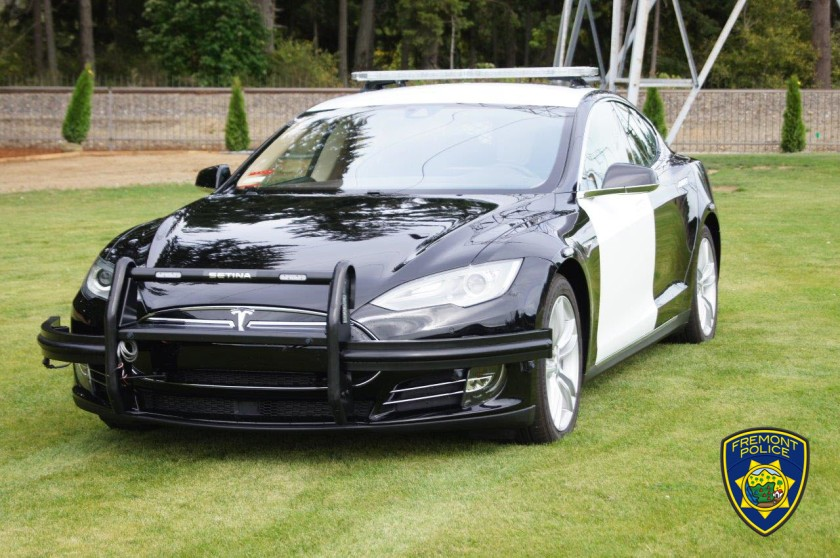 A Fremont Police Department Tesla is seen in an undated photo released by the agency.