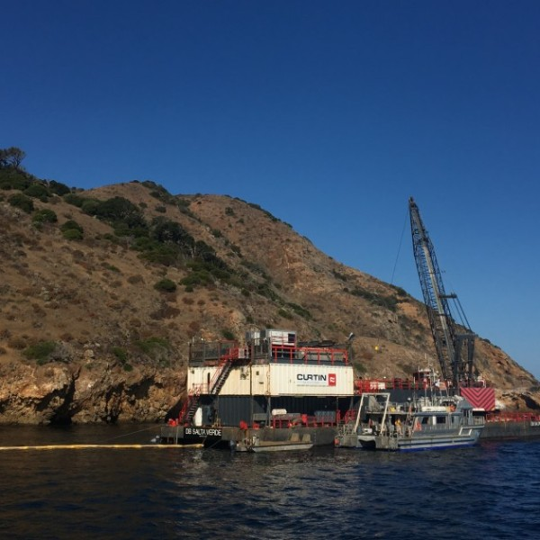The salvage operation to raise the dive boat Conception off coast of Santa Cruz Island has been temporarily suspended.(Credit: U.S. Coast Guard)
