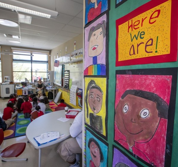 Student drawings are on display in a second-grade math class at Bayside Martin Luther King Jr. Academy in Sausalito.(Credit: Allen J. Schaben / Los Angeles Times)