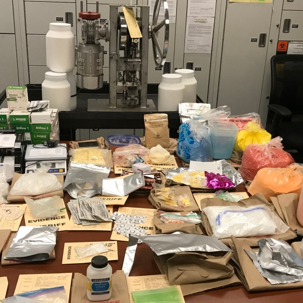 Detectives seized a large cache of drugs and drug-making equipment and ingredients at the home and business of a Porter Ranch man on Sept. 26, 2019. (Credit: Ventura County Sheriff's Office)