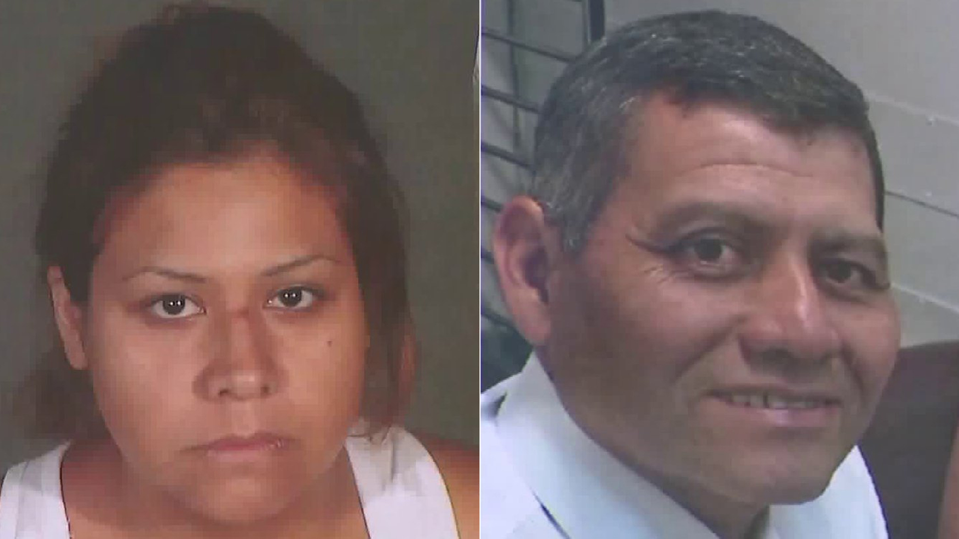 From left to right: Maritza Joana Lara, 27, appears in a booking photo released by Los Angeles police on Aug. 27, 2019. Francisco Hernandez Rivas is seen with his wife in a photo provided by family on Aug. 27, 2019.