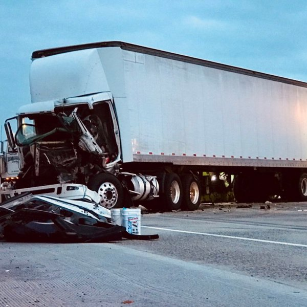 The site of a crash involving several big rigs on the 10 Freeway in West Covina on Sep. 26, 2019. (Credit: CHP Baldwin Park)