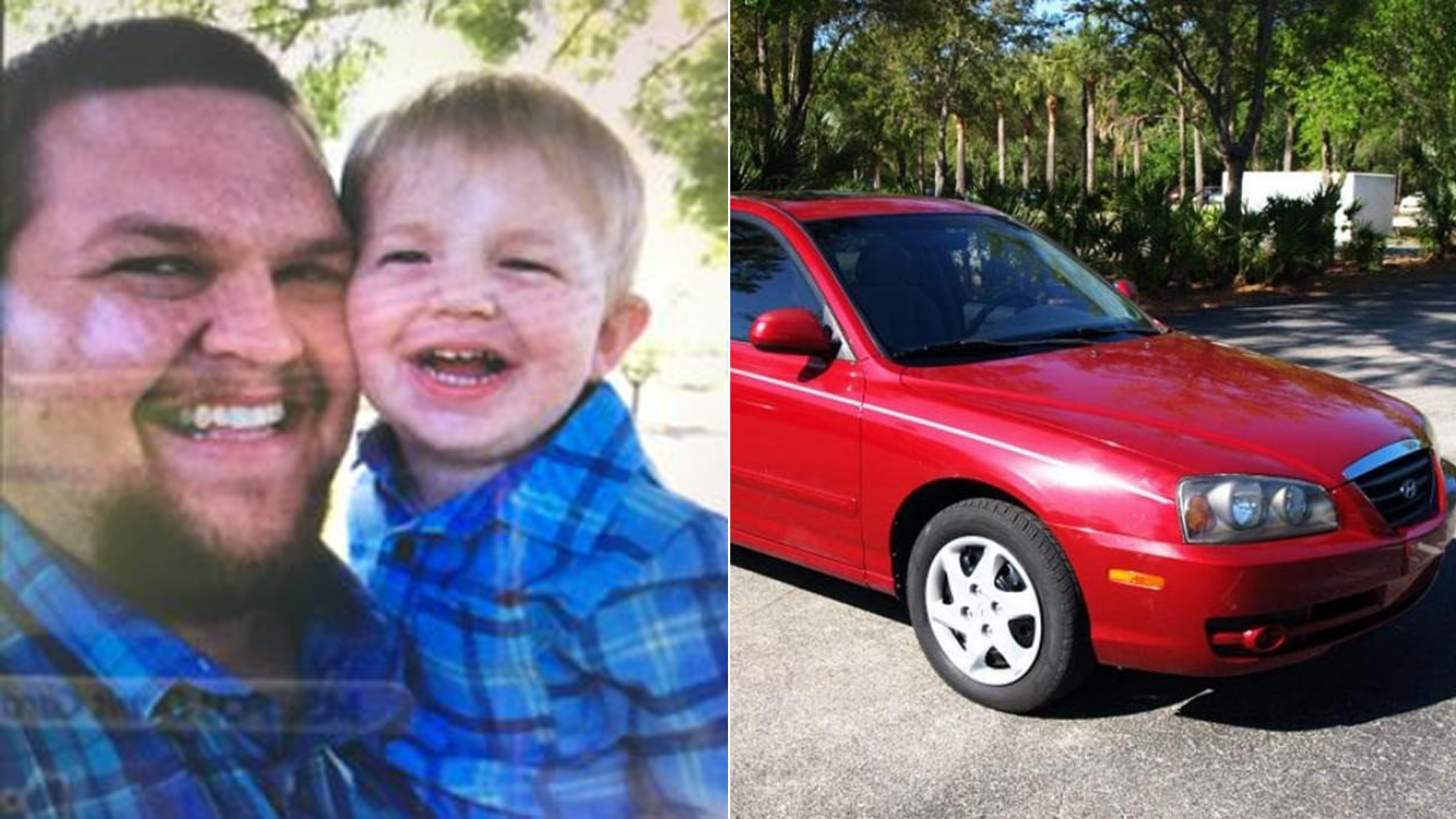 Steven and John Weir, left, appear in a photo released by California Highway Patrol on Sept. 21, 2019. On the right, a red Hyundai Elantra similar to Steven Weir's vehicle is seen in image released by the agency.