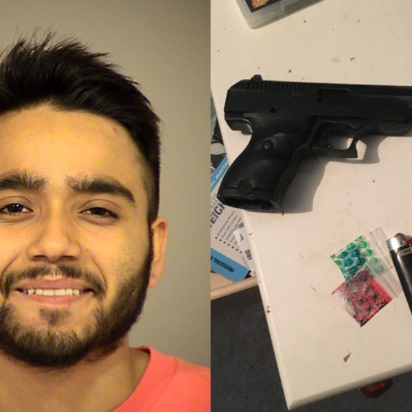 Eduardo Morales is pictured in a booking photo next to a photo of a handgun and suspected narcotics in these photos from the Ventura County Sheriff's Office.