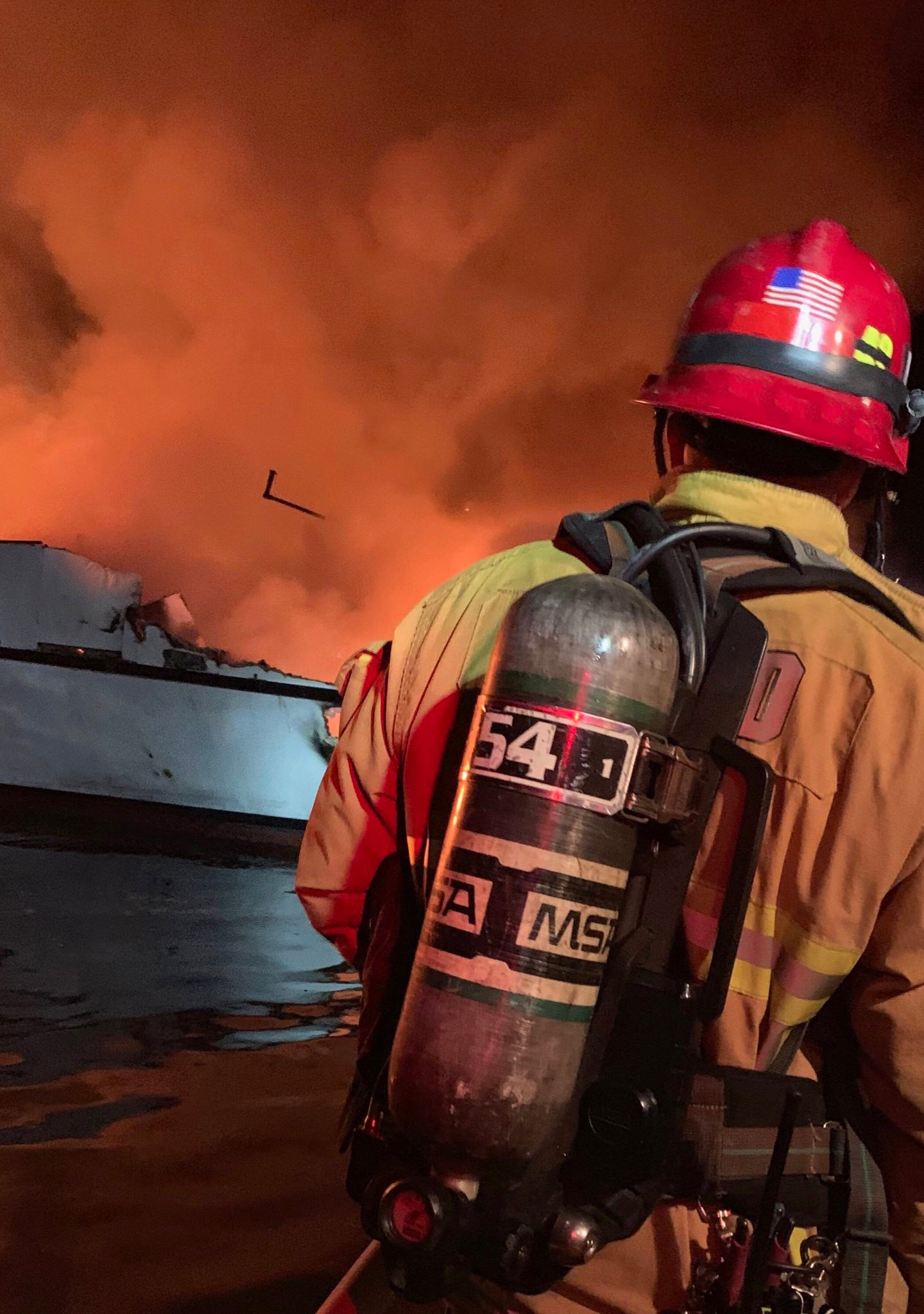 Crews respond to a boat fire near Santa Cruz Island on Sept. 2, 2019. (Credit: Ventura County Fire Department)
